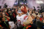 GLENDALE, AZ - FEBRUARY 3: Quarterback Eli Manning #10 of the New York Giants celebrates a victory against the New England Patriots during Super Bowl XLII on February 3, 2008 at University of Phoenix Stadium in Glendale, Arizona. The Giants defeated the Patriots  17-14. *** Local Caption *** Eli Manning