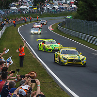 Formation lap with crowds before start to the ADAC Total 24-Hour Race on 22.06.2019 at Nürburgring Nordschleife