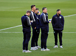 Burnley players on the pitch before kick-off