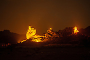Timna valley is illuminated at night during an audio visual presentation. Photographed at Timna park, Israel
