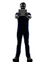 one  man holding watching digital tablet in silhouette on white background