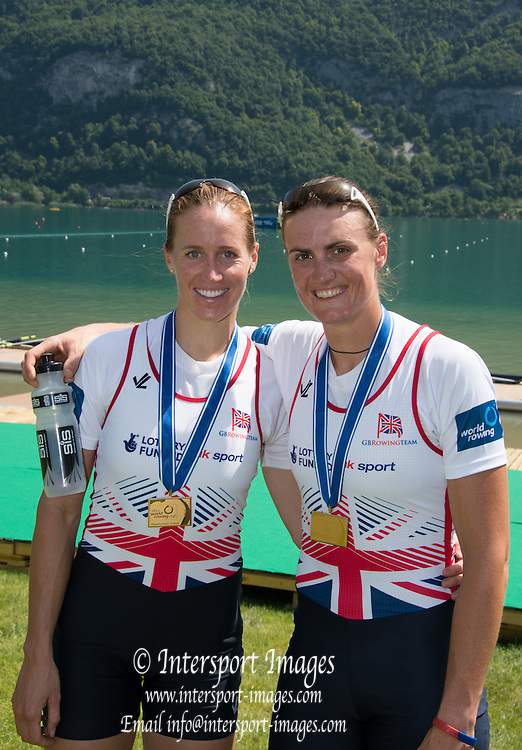 Aiguebelette, FRANCE.  Gold Medallist Women's pair. GBR W2-left Helen GLOVER and Heather STANNING.Sunday, Finals at the  2014 FISA World Cup II, 11:32:44  Sunday  22/06/2014. [Mandatory Credit; Peter Spurrier/Intersport-images]