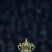 The Web Ellis Trophy on the podium before the presentation of the Rugby World Cup  during the New Zealand V France Final at the IRB Rugby World Cup tournament, Eden Park, Auckland, New Zealand. 23rd October 2011. Photo Tim Clayton...