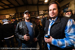 Ronnie Quinn and Chris Wade at Bill Dodge's Blings Cycles industry party during Daytona Bike Week. Daytona Beach, FL. USA. Wednesday March 14, 2018. Photography ©2018 Michael Lichter.