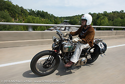 Craig Jackman riding his 1936 HD VLH Twin Carb during Stage 5 of the Motorcycle Cannonball Cross-Country Endurance Run, which on this day ran from Clarksville, TN to Cape Girardeau, MO., USA. Tuesday, September 9, 2014.  Photography ©2014 Michael Lichter.