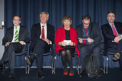 © Licensed to London News Pictures . 05/02/2016 . Manchester , UK . Waiting at the back of the auditorium , TOM PURSGLOVE MP , DAVID DAVIS MP , KATE HOEY MP , GRAHAM BRADY MP . Grassroots Out , anti-EU membership campaign event , at the Manchester Central Convention Centre . Photo credit : Joel Goodman/LNP