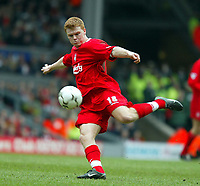 Liverpool's John Arne Riise shoots at goal against Middlesbrough during the Premiership  match at Anfield, Liverpool, Saturday, February 8th, 2003.<br /><br />Pic by David Rawcliffe/Propaganda<br /><br />Any problems call David Rawcliffe on +44(0)7973 14 2020 or email david@propaganda-photo.com - http://www.propaganda-photo.com