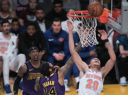 January 4, 2019 - Los Angeles, California, U.S - Kevin Knox #20 of the New York Knicks is unable to stop a shot by Brandon Ingram #14 of the Los Angeles Lakers during their NBA game on Friday January 4, 2019 at the Staples Center in Los Angeles, California. (Credit Image: © Prensa Internacional via ZUMA Wire)