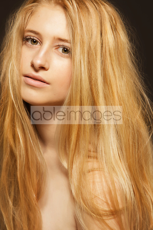 Close up Portrait of Teenage Girl with Long Hair