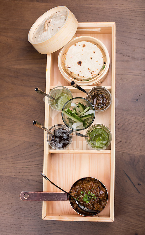 Ghee roast lamb, roomali roti pancakes at Indian Accent restaurant, Mayfair.<br /> Picture by Daniel Hambury/Stella Pictures Ltd 07813022858<br /> 05/01/2018