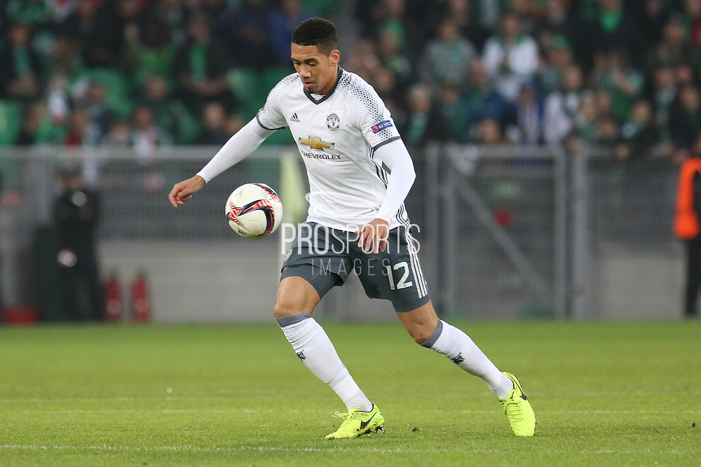Chris Smalling Defender of Manchester United during the Europa League match between Saint-Etienne and Manchester United at Stade Geoffroy Guichard, Saint-Etienne, France on 22 February 2017. Photo by Phil Duncan.