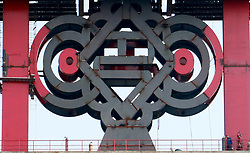 June 9, 2017 - Chongqing, Chongqing, China - Chongqing, CHINA-June 9 2017: (EDITORIAL USE ONLY. CHINA OUT) A 15-meter-tall Chinese traditional knot made of steel hanging on the Cuntan Yangtze River Bridge in southwest China's Chongqing, June 8th, 2017. It's the largest steel Chinese knot in the world. (Credit Image: © SIPA Asia via ZUMA Wire)