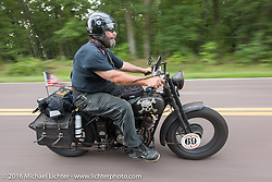 Dave Kafton riding his 1925 Harley-Davidson JD during Stage 6 of the Motorcycle Cannonball Cross-Country Endurance Run, which on this day ran from Cape Girardeau to Sedalia, MO., USA. Wednesday, September 10, 2014.  Photography ©2014 Michael Lichter.