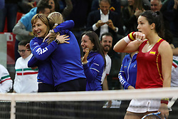 February 11, 2018 - Chieti, CH, Italy - Tathiana Garbin captain of Italy team celebrate the victory of the 2018 Fed Cup BNP Paribas World Group II First Round match between Italy and Spain at Pala Tricalle ''Sandro Leombroni'' on February 11, 2018 in Chieti, Italy. (Credit Image: © Danilo Di Giovanni/NurPhoto via ZUMA Press)