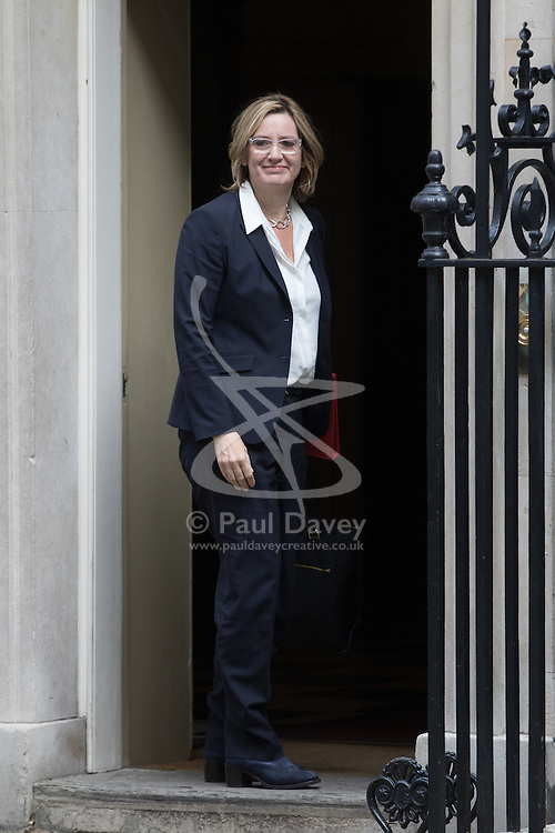 Energy Secretary Amber Rudd arrives at Prime Minister David Cameron's final cabinet meeting following Theresa May's anticipated takeover as Leader of the Conservative Party and Prime Minister