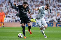 Real Madrid Karim Benzema and PSG Dani Alves during Eight Finals Champions League match between Real Madrid and PSG at Santiago Bernabeu Stadium in Madrid , Spain. February 14, 2018. (ALTERPHOTOS/Borja B.Hojas)