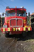 Large red six by six off road recovery vehicle
