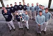 © Peter Spurrier Sports Photo<br /> e-mail  pictures@rowingpics.com<br /> tel 44 (0) 7973 819 551<br /> <br /> Both crews line up fot the photograph Oxford (Dark blues') [Mandatory Credit; Peter SPURRIER/Intersport Images]<br /> <br /> 20010324 University Boat Race, Putney to Mortlake, London, Great Britain.