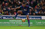 Antonio Valencia of Manchester Utd in action.Premier league match, Stoke City v Manchester Utd at the Bet365 Stadium in Stoke on Trent, Staffs on Saturday 21st January 2017.<br /> pic by Andrew Orchard, Andrew Orchard sports photography.