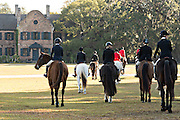 Riders gather for the Blessing of the Hounds marking the start of the Fox Hunting season at Middleton Place Plantation November 27, 2016 in Charleston, South Carolina. Fox hunting in Charleston is a drag hunt using a scented cloth to simulate a fox and no animals are injured.