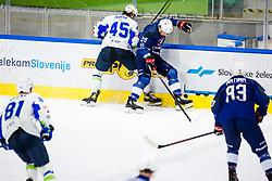 Maver Luka of Slovenia vs Douay Floran of France during match at Beat Covid 19 IIHF Tournament 2021 between national teams of Slovenia and France in Hala Tivoli on 17th of May, 2021, Ljubljana, Slovenia . Photo By Grega Valancic / Sportida
