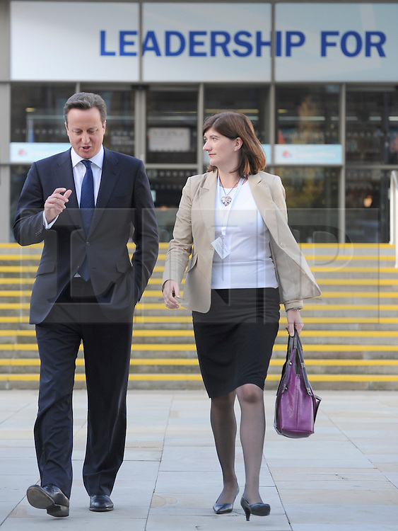 © Licensed to London News Pictures. 09/04/14 Newly-promoted Nicky Morgan MP will now attend cabinet meetings as minister for women, following the mini re-shuffle after Maria Miller's resignation from Cabinet. FILE PICTURE DATED04/10/2011. MANCHESTER. UK. Prime Minister David Cameron and Nicky Morgan MP at The Conservative Party Conference at Manchester Central today, October 4, 2011. Photo credit:  Stephen Simpson/LNP
