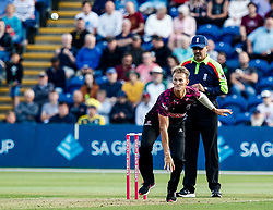 Max Waller of Somerset in action today <br /> <br /> Photographer Simon King/Replay Images<br /> <br /> Vitality Blast T20 - Round 1 - Glamorgan v Somerset - Thursday 18th July 2019 - Sophia Gardens - Cardiff<br /> <br /> World Copyright © Replay Images . All rights reserved. info@replayimages.co.uk - http://replayimages.co.uk