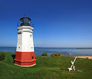 A Very Cute And Very Small Lighthouse, The Vermillion Light On A Gorgeous Day At Vermillion Ohio On Lake Erie, USA