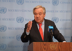 March 26, 2019 - New York, United States - Press Encounter by the Secretary-General Antonio Guterres on the devastation caused by Cyclone Idai in Monzambique, Africa at the UN Headquarters in New York, on 26 March 2019. The head of the World Food Programme is traveling to Mozambique as we speak,'' Guterres added. (Credit Image: © Selcuk Acar/NurPhoto via ZUMA Press)