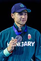 12-01-2019 NED: ISU European Short Track Championships 2019 day 2, Dordrecht<br /> Shaoang Liu pose in the Men's 1500m medal ceremony during the ISU European Short Track Speed Skating Championships