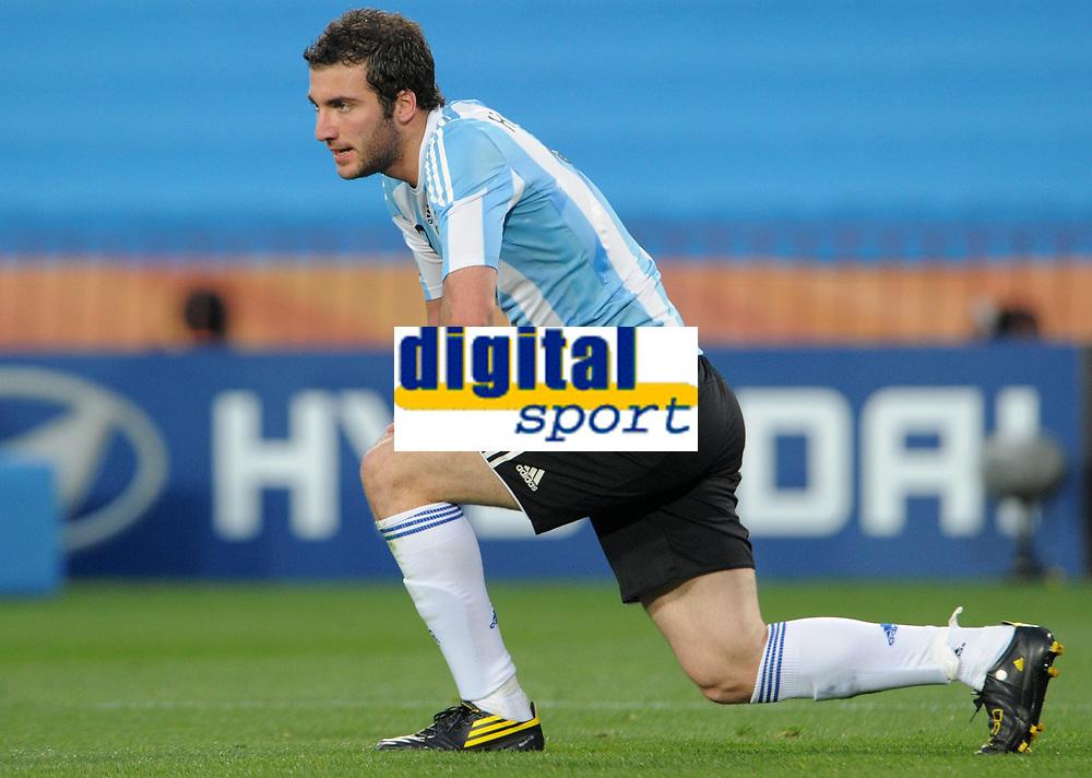 Fotball<br /> VM 2010<br /> 12.06.2010<br /> Argentina v Nigeria<br /> Foto: Witters/Digitalsport<br /> NORWAY ONLY<br /> <br /> Gonzalo Higuain (Argentinien)<br /> Fussball WM 2010 in Suedafrika, Vorrunde, Argentinien - Nigeria