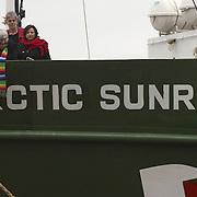 MSPs Fiona Hyslop, Mike Pringle, Robin Harper, Colin Fox, and Greenpeace Director John Sauiven on   MV Arctic Sunrise in Leith, Edinburgh, to launch the Scottish leg of Greenpeace's  'Trident:We Don't Bui It' Tour, 12 February 2007
