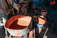 Pulp from guava fruits is further purified in the process of making guava bars at La Panchita. Florida, Cuba.
