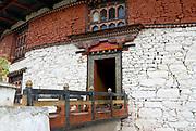 The entrance to the National Museum of Bhutan in the round watchtower above Paro Dzong.  Paro, Druk Yul, Bhutan. 10 November 2007.