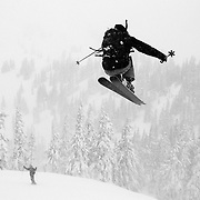 Owen Dudley goes supersonic over the ropeline at Mount Baker Ski Area during a major spring storm.