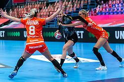 Lois Abbingh of Netherlands, Kelly Dulfer of Netherlands, Kim Naidzinavicius of Germany in action during the Women's EHF Euro 2020 match between Netherlands and Germany at Sydbank Arena on december 14, 2020 in Kolding, Denmark (Photo by RHF Agency/Ronald Hoogendoorn)