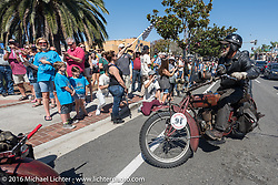 3,400 miles from the Atlantic to the Pacific - The journey is over. Rich Rau of Oregon riding his 1916 Indian crosses the finish line of the Motorcycle Cannonball Race of the Century. Stage-15 ride from Palm Desert, CA to Carlsbad, CA. USA. Sunday September 25, 2016. Photography ©2016 Michael Lichter.