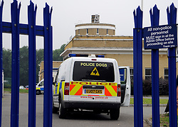 ©  licensed to London News Pictures KENT. UK. 28/04/2011. A police dog van arrives at the Metropolitian police dog training centre in Bromley today (28 June 2011). An officer has been treated in hospital following the deaths of two police dogs who were left in a car on one of the hottest days of the year. The animals were found collapsed in an unventilated vehicle at the Metropolitan Police's training centre. Please see special instructions..Picture credit should read Grant Falvey/LNP.