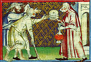 Scene from the 14th Century, illustrated manuscript the Breviari d'amor. It illustrates the seven Acts of Mercy. Here  is shown giving sustenance and drink to the thirsty