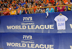 20150613 NED: World League Nederland - Finland, Almere<br /> Support Finland boarding World League