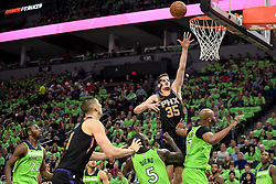December 16, 2017 - Minneapolis, MN, USA - The Phoenix Suns' Dragan Bender (35) puts up a shot in the first quarter against the Minnesota Timberwolves on Saturday, Dec. 16, 2017, at Target Center in Minneapolis. (Credit Image: © Aaron Lavinsky/TNS via ZUMA Wire)