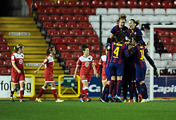 FC Barcelona celebrate  - Photo mandatory by-line: Joe Meredith/JMP - Mobile: 07966 386802 - 13/11/2014 - SPORT - Football - Bristol - Ashton Gate - Bristol Academy Womens FC v FC Barcelona - Women's Champions League