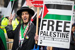 © Licensed to London News Pictures. 06/02/2017. London, UK. Demonstrators protest against the visit of Israeli Prime Minister Benjamin Netanyahu to the UK. Today, British Prime Minister Theresa May is holding a meeting with Netanyahu. Photo credit : Tom Nicholson/LNP