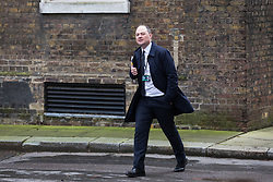 London, UK. 16 December, 2019. James Slack, the Prime Minister's Official Spokesperson, arrives at 10 Downing Street on the day of a small Cabinet reshuffle following the Conservatives' general election victory.
