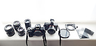 From left: Canon FD 50 f/1.2, Olympus OM 35 f/3.5, Leica M-Summarit 50 f/2.5, Konica M-Hexanon 90 f/2.8, Sony A7R, Sony RX1 with viewfinder, Lee Seven5 Polariser, Lee RF75 holder & adapter ring, Lee RF75 Big Stopper, .3, .6 and .9 grads.
