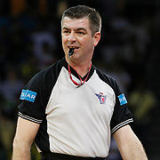 Referee's Murat BIRICIK during their Turkish Basketball league Play Off Final Sixth Leg match Fenerbahce Ulker between Efes Pilsen at the Abdi Ipekci Arena in Istanbul Turkey on Wednesday 02 June 2010. Photo by Aykut AKICI/TURKPIX