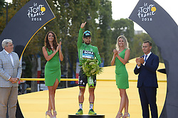 Slovakia's Peter Sagan celebrates his overall best sprinter's green jersey on the podium after the 21st and last stage of the 105th edition of the Tour de France cycling race between Houilles and Paris Champs-Elysees, in Paris, France, on July 29, 2018. Photo by Eliot Blondet/ABACAPRESS.COM