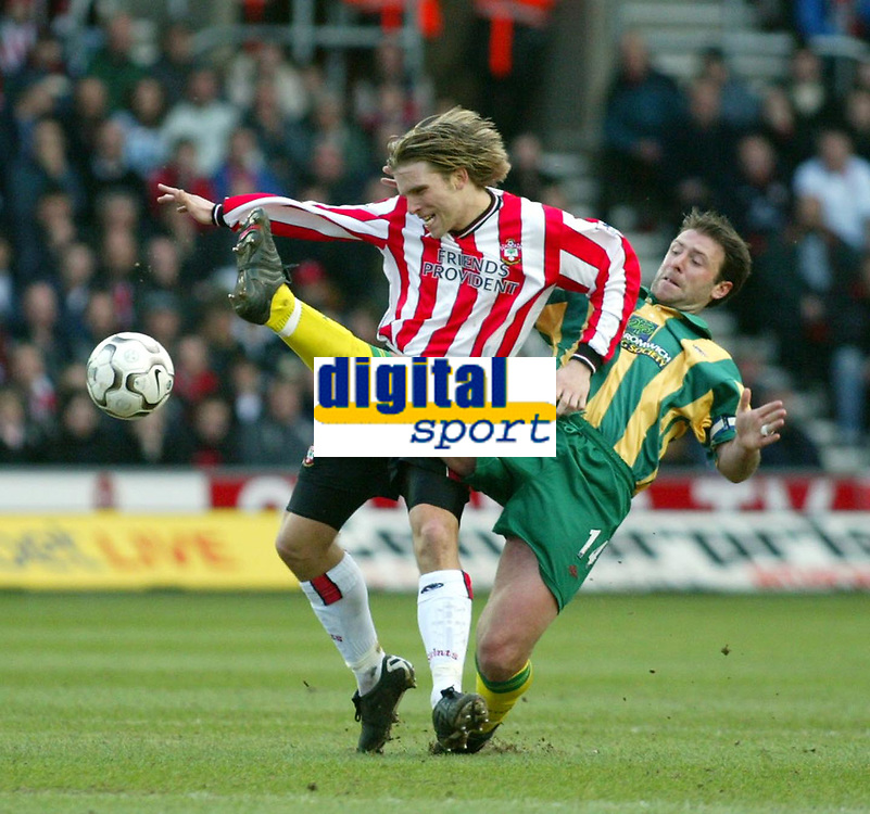 Photo: Scott Heavey<br />Southampton V West Bromwich Albion. 01/03/03.<br />Sean Gregan of Albion takes out Anders Svensson and is substituted minutes later during this premiership clash at St. Marys stadium, home of Southampton.