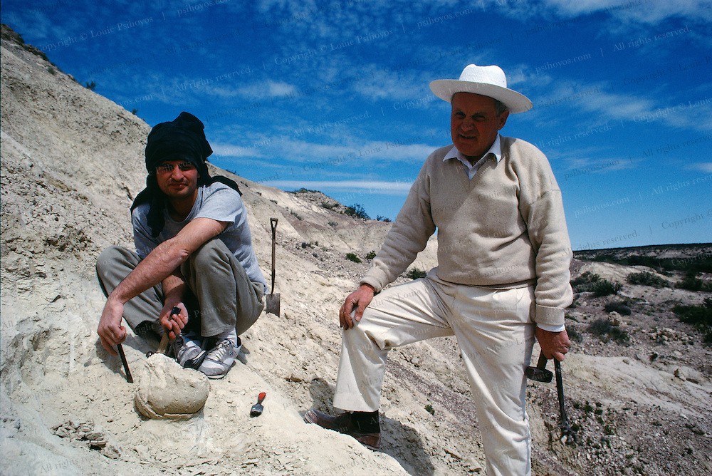 Bonaparte (right) scrambles a four-liter egg discovered by the author in Patagonia, Argentina.  Raul Vacca is on the left.