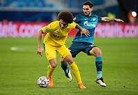 SAINT PETERSBURG, RUSSIA - DECEMBER 08: Axel Witsel of Borussia Dortmund and Magomed Ozdoev of Zenit St. Petersburg during the UEFA Champions League Group F stage match between Zenit St. Petersburg and Borussia Dortmund at Gazprom Arena on December 8, 2020 in Saint Petersburg, Russia. (Photo by MB Media)